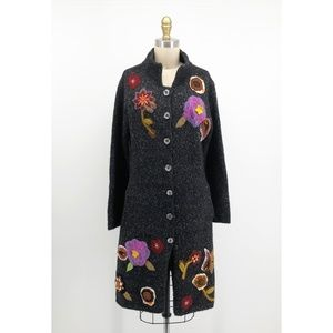RELAIS Floral Embellished Cardigan Sweater Jacket